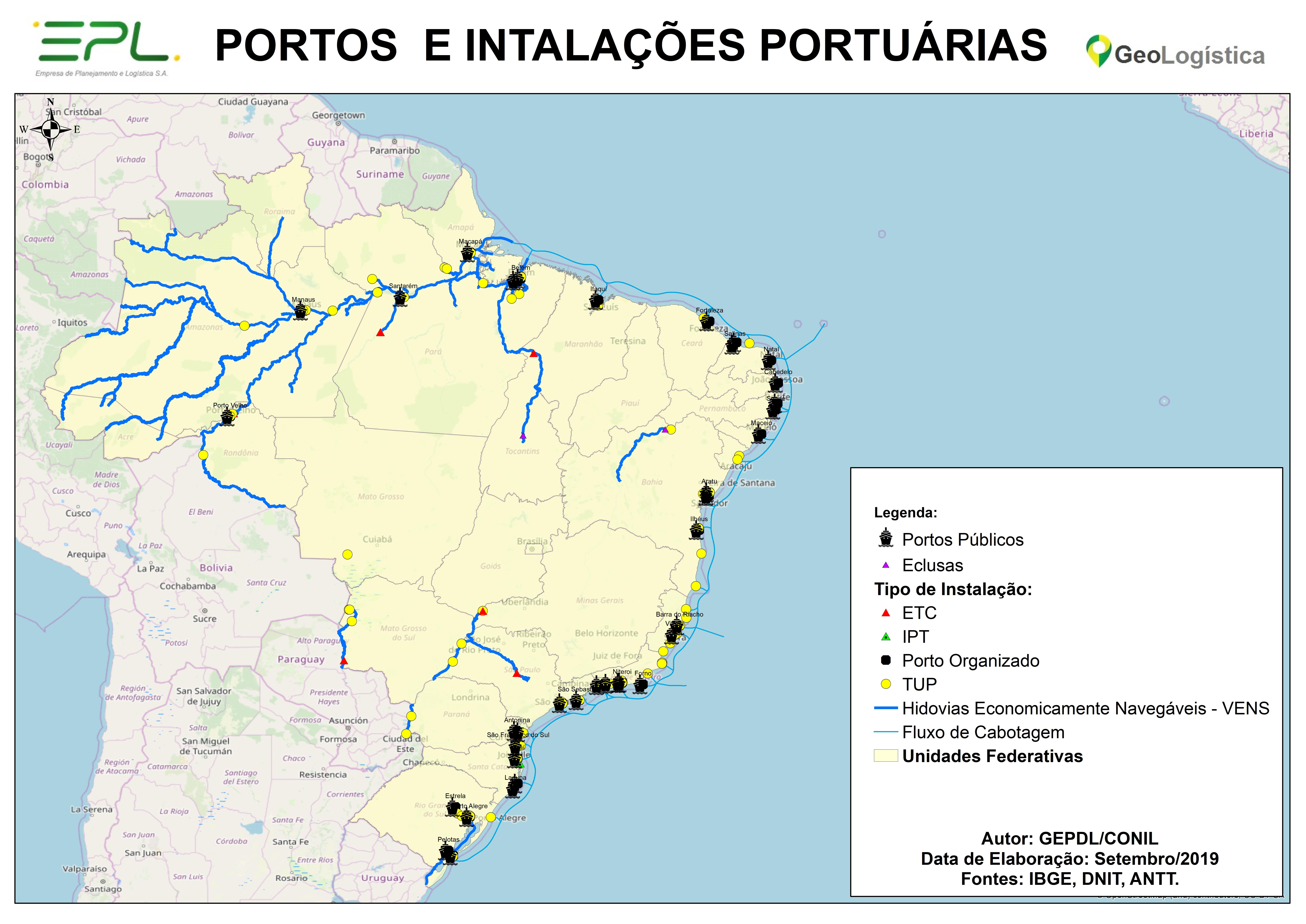 Mapa de Portos e Instalações Portuárias